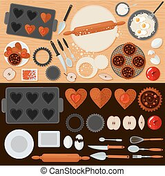 Bakery Sweets Set with Ingredients and Kitchen Tools