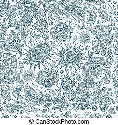 Seamless Ethnic Tribal Pattern with Flowers