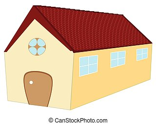 long 3d house against white background, abstract vector art...