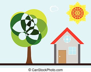 tree house and sun, abstract vector art illustration