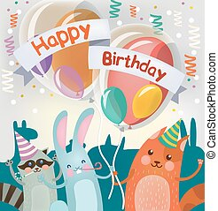 Happy Birthday Greeting Card with Cute Animals for Children Party