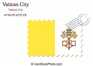 vatican city stamp design over stripy background, abstract...