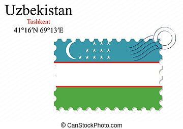 uzbekistan stamp design over stripy background, abstract...
