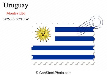 uruguay stamp design over stripy background, abstract vector...