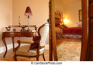 interior of a bedroom, reflection in a mirror