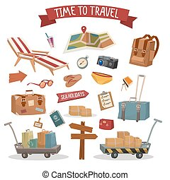 Time to Travel. Set of Holidays Summertime Elements with...