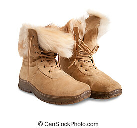 fur beige boots isolated on white background