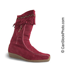 Red deerskin boot - Red deerskin womanish boot isolated with...
