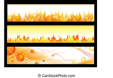 hot web banners with flame and copyspace for your text ir...