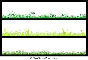 set of three grass web banners with copyspace for your text...