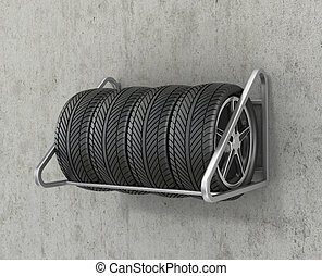 The four road wheels are suspended on a concrete wall.