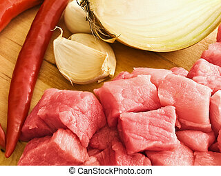 meat,pepper,garlic and onion