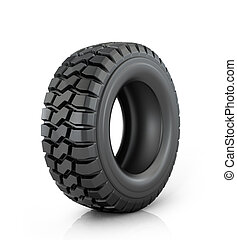 Car tire on white background.