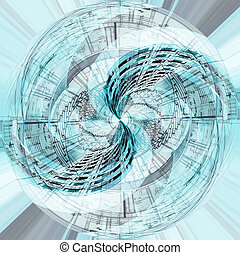 abstract sphere background - abstract blue sphere fractal...