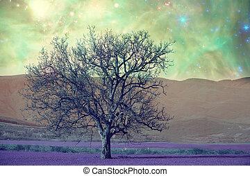 alien tree landscape - alien landscape with alone tree over...