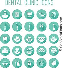 Dental health care round flat vector icons - Set of modern...