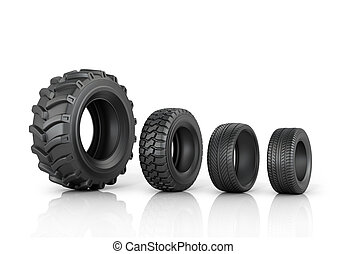Four different tread standing in a row on a white background...
