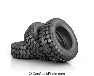Three tires on a white background