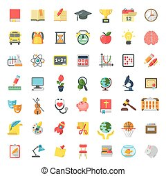 Flat Colorful School Subjects Icons Isolated on white - Set...
