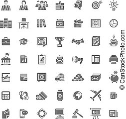Flat monochrome silhouette business and finance vector icons...