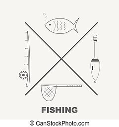 Collection of different fishing gear made in modern line style vector.