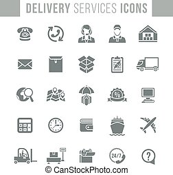 Delivery and logistics services flat silhouette web icons