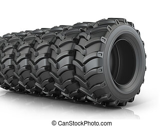 Big tires on a white background