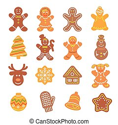 Christmas cookies flat icons set - Set of flat vector icons...