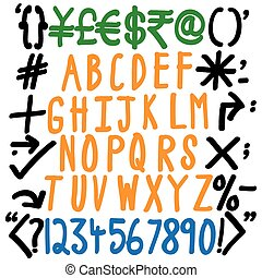alphabets, numbers and special characters - hand written...