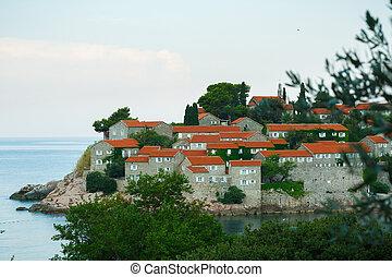Sveti Stefan St Stefan island in Adriatic sea, Montenegro,...
