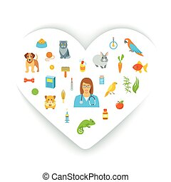 Animal Pets Grooming and Healthcare Flat Colorful Vector Concept