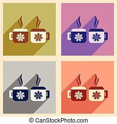 Set flat icons with long shadow cup snowflakes