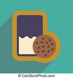 flat icon with long shadow glass milk and cookies
