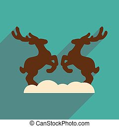 flat icon with long shadow pair of deer