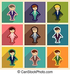 Set of flat web icons with long shadow groom