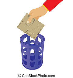 Hand throwing trash in the waste basket. - Hand throwing...