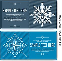 Set of blue nautical flyers - Nautical backgrounds with...