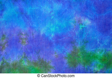 Blue-green tie dye silk background - Beautiful blue and...