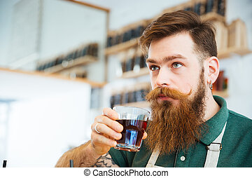 Man drinking coffee - Handsome man drinking coffee