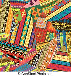 Background with ethnic ornaments patches