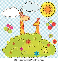 Cartoon background for kids with giraffe and kangaroo