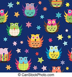 Owls in the nighttime seamless pattern