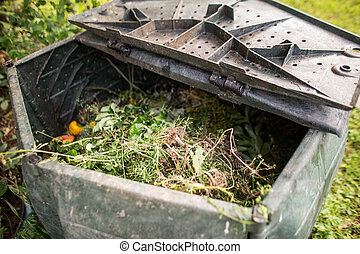 Plastic composter in a garden - filled with decaying organic...