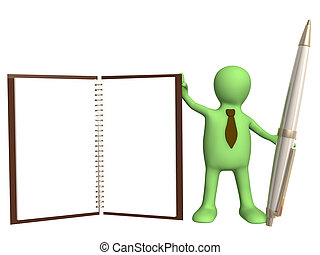 Helper - 3d puppet with a pen and notebook Object over white...