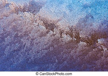 Frost on glass - Abstract ice pattern on winter window