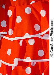 flamenco dress - close up of a red flamenco dress, typical...
