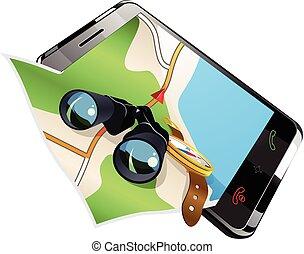 Navigation on smart phone vector illustration