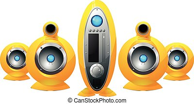 Hi-Fi yellow speakers system - illustration of the Hi-Fi...