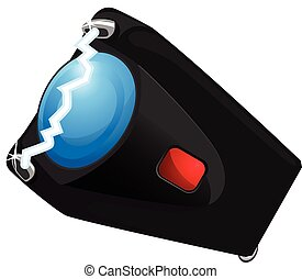 Taser vector illustration - Black cartoon taser illustration...