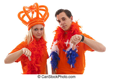 Couple of Dutch soccer supporters feeling down - Couple of...